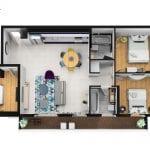 Carmel Market Four Bedroom Duplex with Balcony - layout upper level